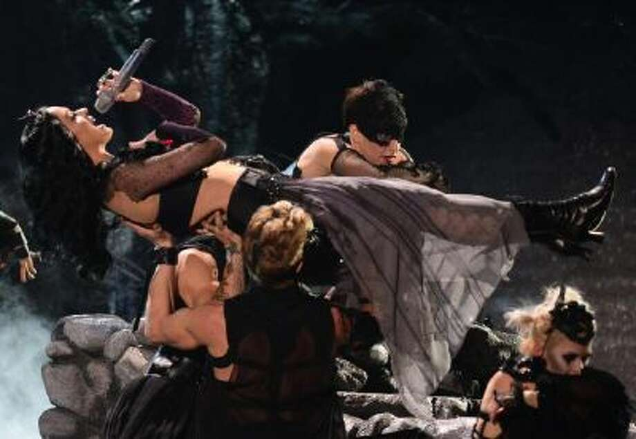 "Katy Perry's Spinal Tap–worthy performance of ""Dark Horse"" on last week's Grammys."