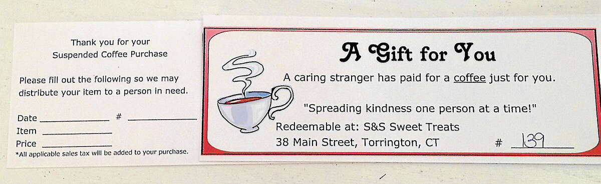 One of the vouchers for a suspended coffee.