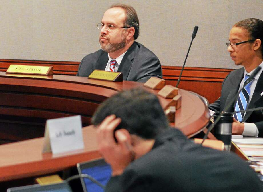 Kate Hartman-Register Citizen ¬ State education commissioner Stefan Pryor is seen during a meeting of the Connecticut Board of Education, which ruled Wednesday to launch an inquiry into the lack of funding for Winchester schools provided by the town in recent years. Photo: Journal Register Co.