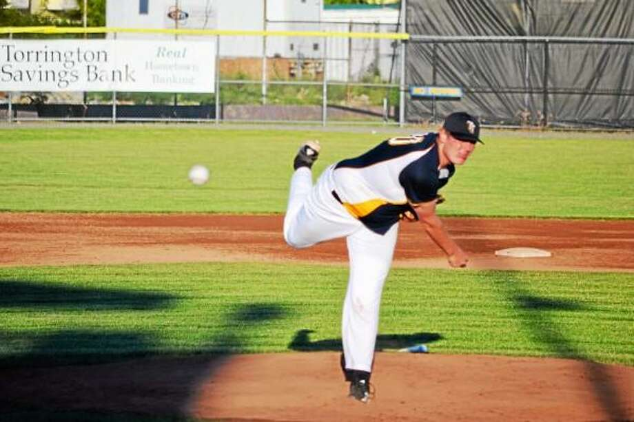 Connor Landers pitches during a game earlier this season. Pete Paguaga/Register Citizen