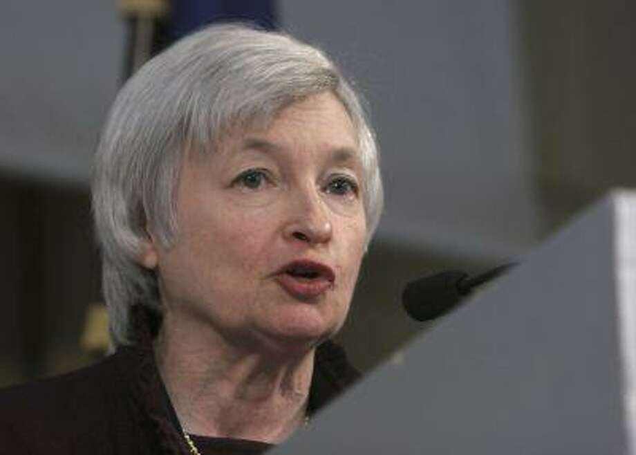 Fed Vice Chairwoman Janet Yellen, then president of the San Francisco Federal Reserve Bank, delivers a speech at the International Symposium of the Banque de France, Friday, March 7, 2008 in Paris. (AP Photo/Jacques Brinon) Photo: ASSOCIATED PRESS / AP2008