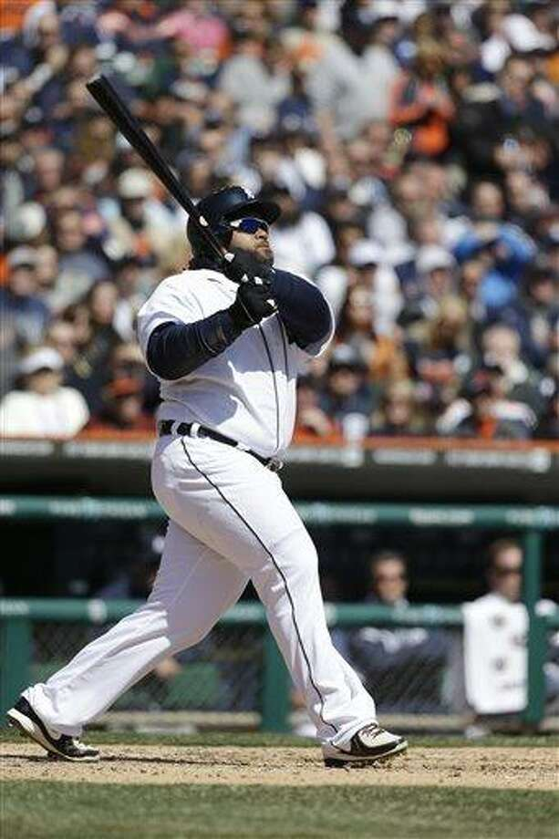 Detroit Tigers' Prince Fielder bats during the third inning of a baseball game against the New York Yankees in Detroit, Friday, April 5, 2013. (AP Photo/Carlos Osorio) Photo: ASSOCIATED PRESS / AP2013