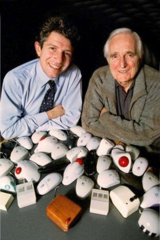 SO.Mouse30th.1207.HODoug Engelbart (right), inventoer of the computer mouse and Guerrino De Luca, president and CEO of Logitech, the world's largest mouse manufacturer, with the original wooden mouse and an array of newer versions of the mouse. The computer mouse celebrates its 30th birthday on 12/9/98.Photo/Art by:Handout Photo: XX / E?Mailed