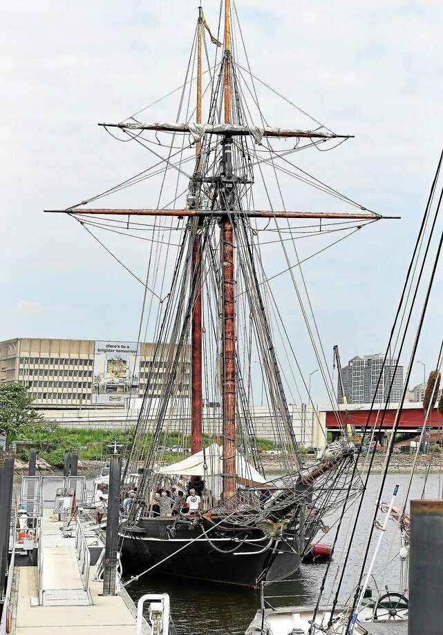 The Amistad, docked in New Haven Harbor during the homecoming ceremony. The boat will be in Long Island Sound for most of the summer. Photo: Peter Casolino — New Haven Register