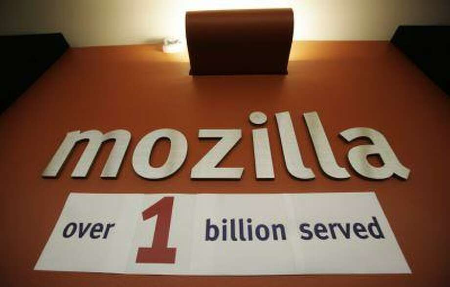 A celebration sign is posted at Mozilla headquarters in Mountain View, Calif., Friday, July 31, 2009. Photo: ASSOCIATED PRESS / AP2009