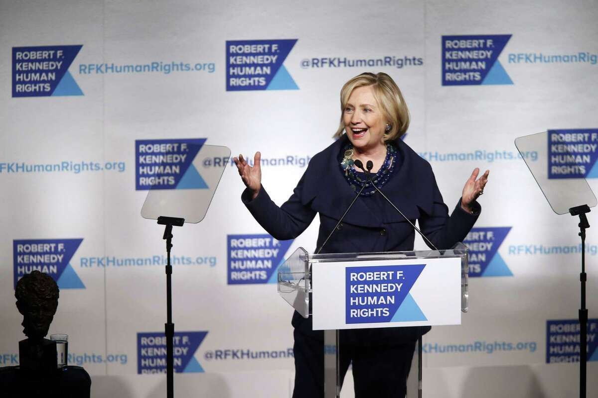 Former Secretary of State Hillary Rodham Clinton speaks after accepting the Robert F. Kennedy Ripple of Hope Award during a ceremony, Tuesday, Dec. 16, 2014 in New York.