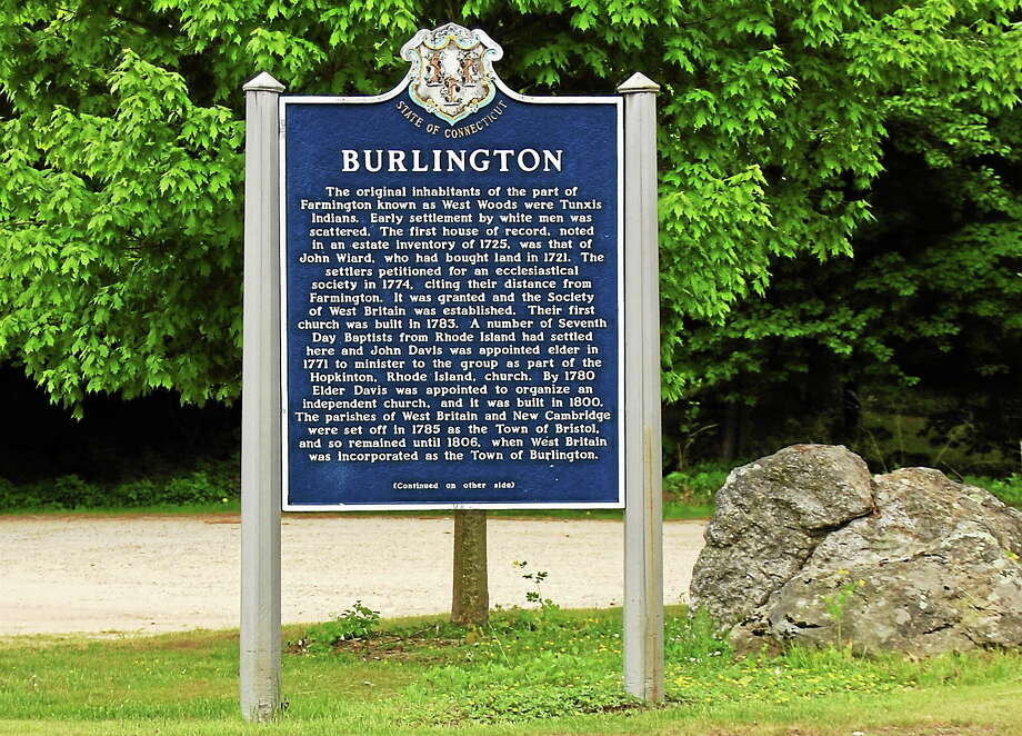 A signpost describing the town of Burlington seen near the town green. Photo: Register Citizen File Photo