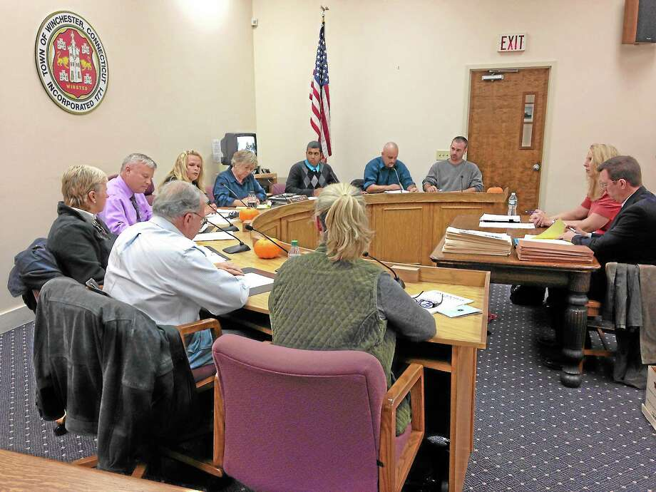 The new board of selectmen met with finance director Robin Manuele and town Attorney Kevin Nelligan to discuss the town's finances. Photo: Journal Register Co.