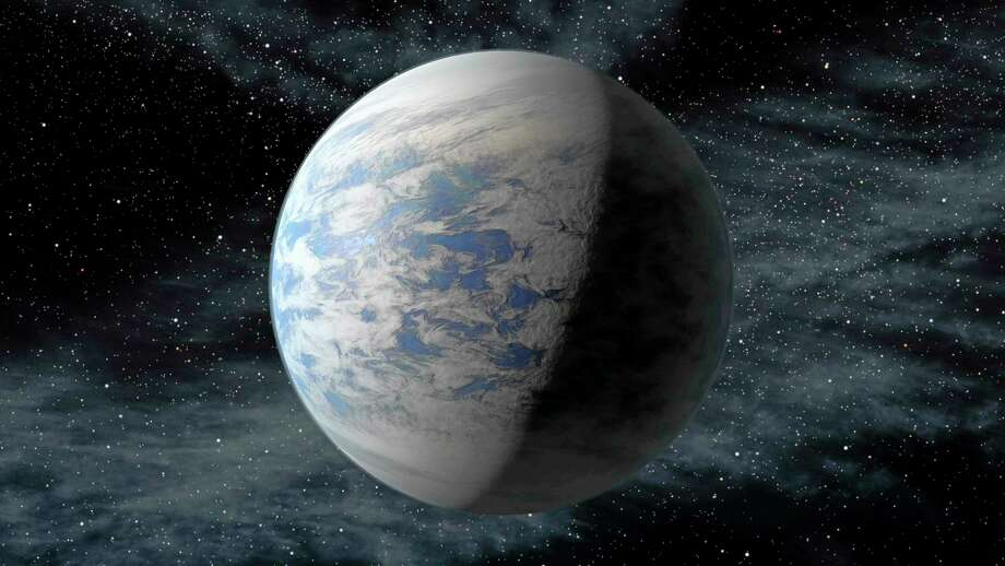 This artist's rendition provided by NASA shows Kepler-69c, a super-Earth-size planet in the habitable zone of a star like our sun, located about 2,700 light-years from Earth in the constellation Cygnus. Astronomers using NASA data calculate that in our galaxy alone there are at least 8.8 billion Earth-sized planets that are not too hot or not too cold circle stars that are just like our sun, according to a study published Monday, Nov. 4, 2013 in the journal Proceedings of the National Academy of Science. For perspective, that's far more Earth-like planets than there are people on Earth. (AP Photo/NASA/Ames/JPL-Caltech) Photo: AP / NASA/Ames/JPL-Caltech