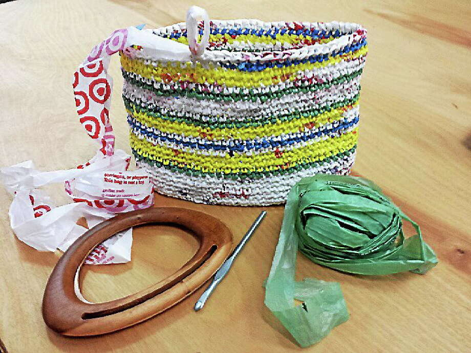Submitted photo - Ginger Balch Make your own recycled market bags using plastic shopping bags from retail stores and grocery stores. Photo: Journal Register Co.