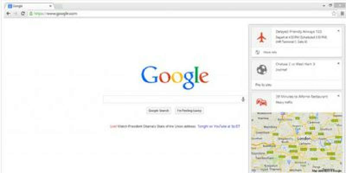 A screenshot of the Google Chrome blog, with details on the Google Now notifications.