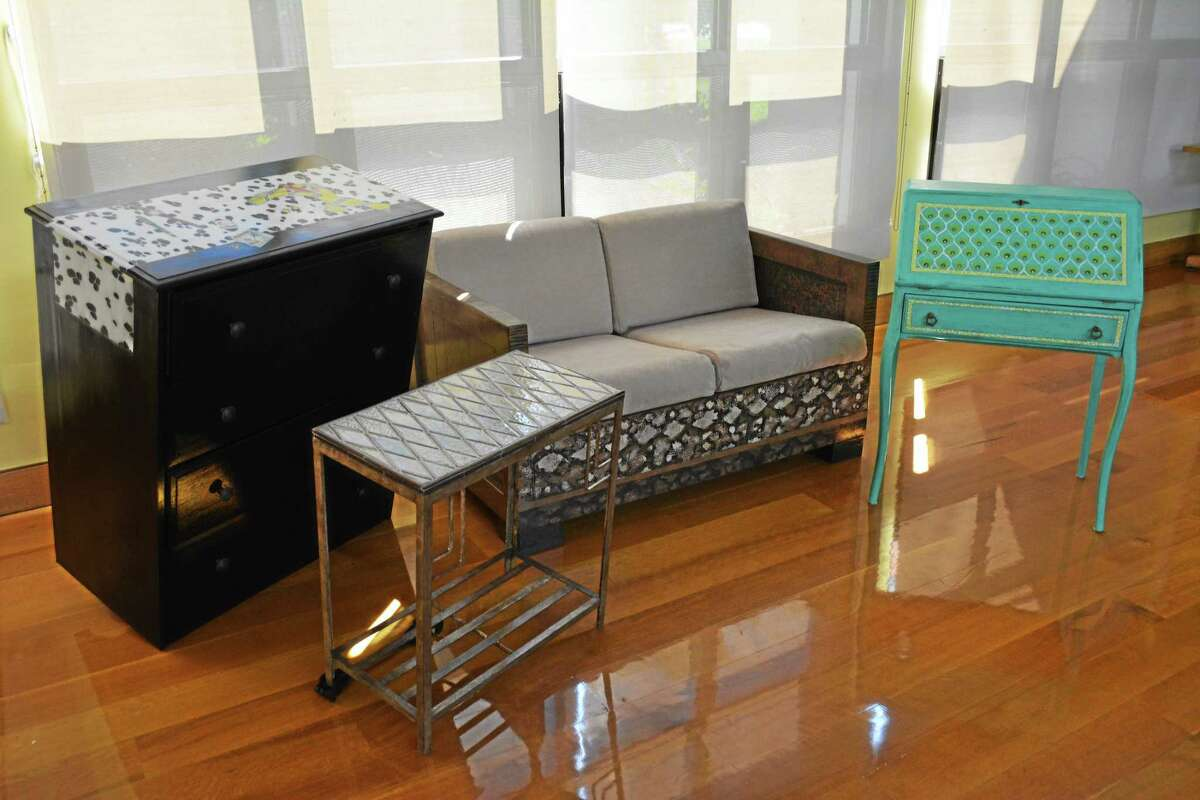 Furniture made art by Bantam Tileworks, Laurie Sweet, Ella Cranpton and Susan Newbury will be auctioned off at the SummerFest Gala on July 19.