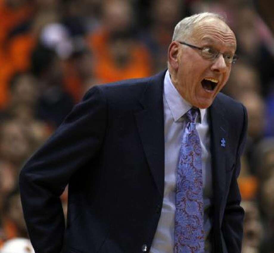 Syracuse head coach Jim Boeheim reacts to a play late in the second half against Duke in Syracuse, N.Y., Saturday.