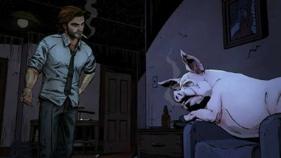 "Bigby Wolf (L) and Colin, a not-so-little pig, in ""The Wolf Among Us."""