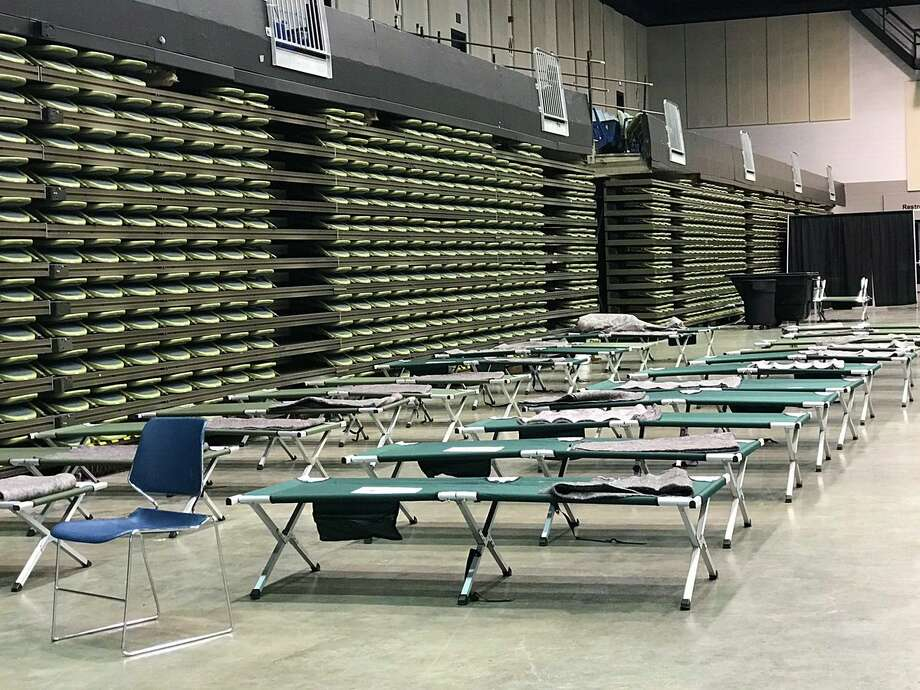 A Red Cross shelter has been set up inside the Beaumont Civic Center. BPD says the shelter is only for residents who have been rescued.Photo: Kim Brent Photo: Kim Brent