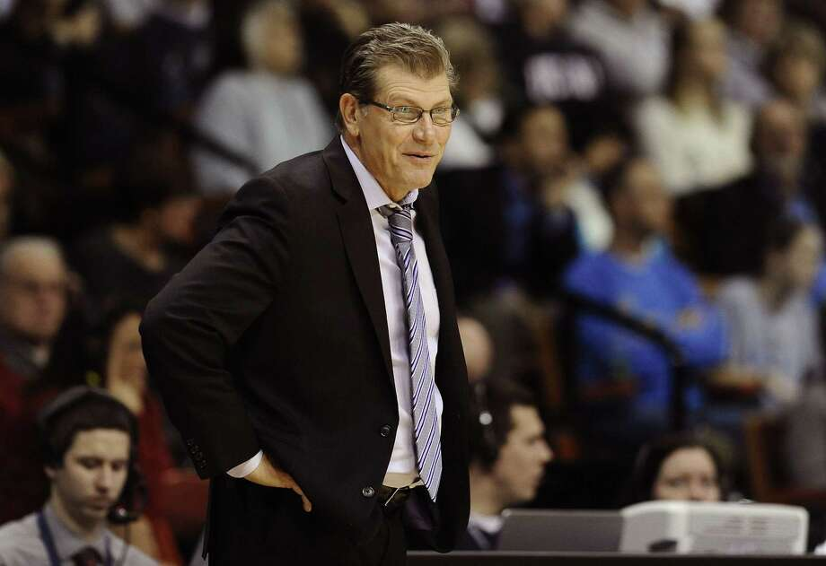 UConn coach Geno Auriemma reacts to a call during the second half Sunday. Photo: Jessica Hill — The Associated Press  / FR125654 AP