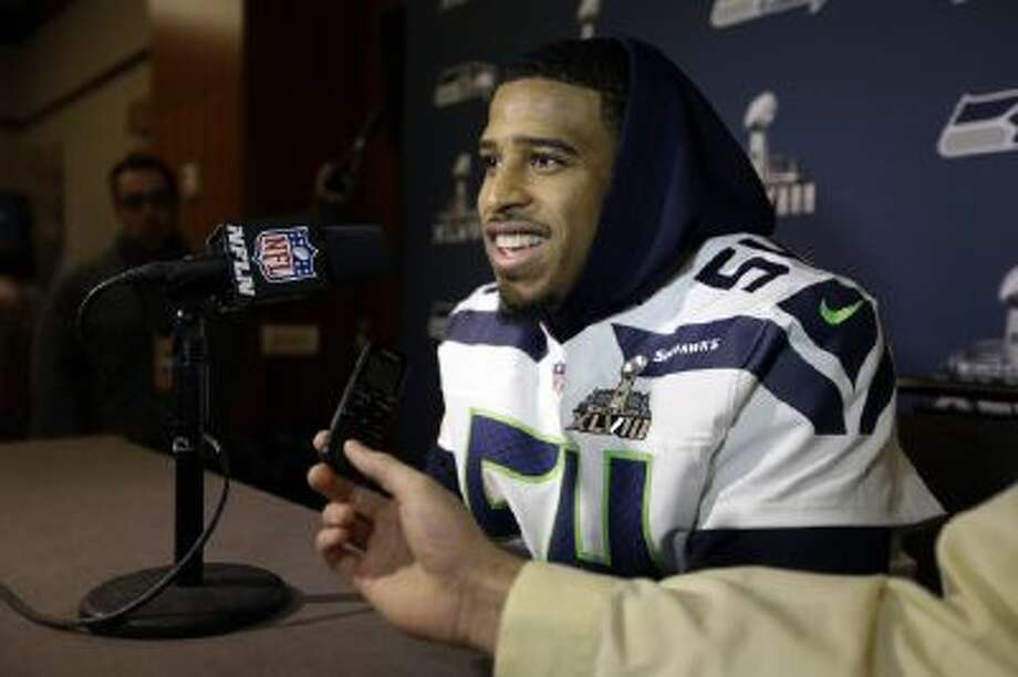 Seattle Seahawks linebacker Bobby Wagner answers questions during a media availability Thursday in Jersey City, N.J.