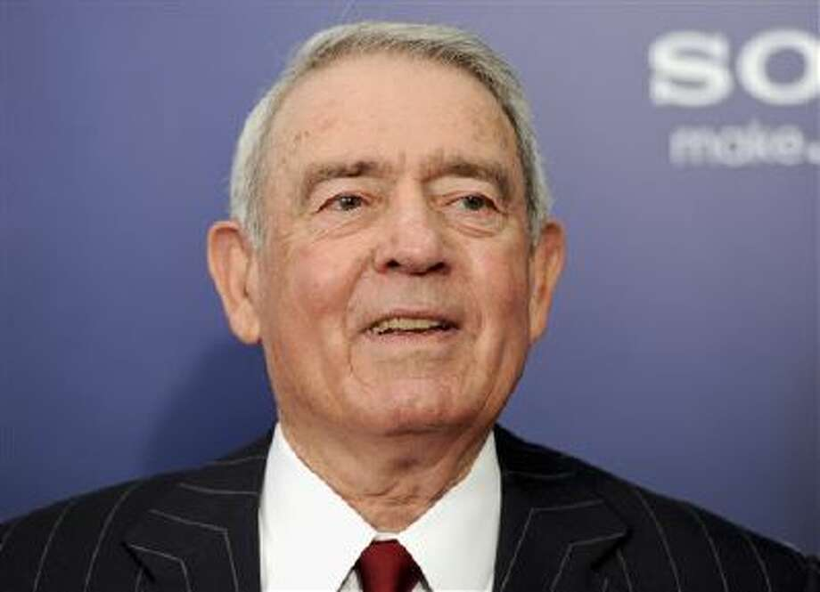 "This Oct. 5, 2011 file photo shows journalist Dan Rather at the premiere of ""The Ides of March"" in New York. Photo: AP / AGOEV"