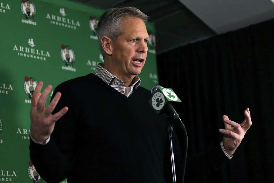 Boston Celtics president of basketball operations Danny Ainge discusses the trade of point guard Rajon Rondo on Friday. Photo: Charles Krupa — The Associated Press  / AP