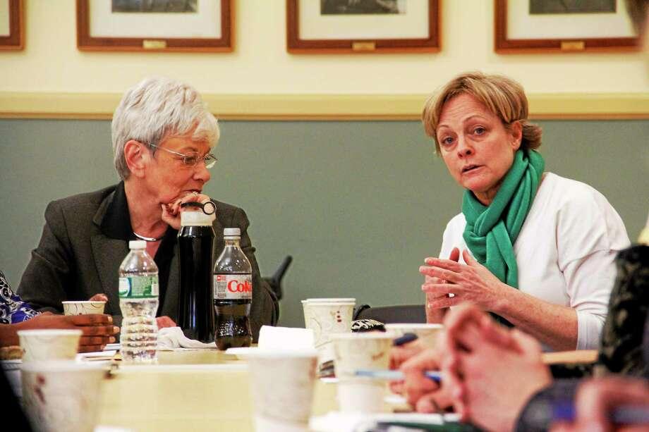 Lt. Gov. Nancy Wyman (left) and Torrington Mayor Elinor Carbone seen during a roundtable discussion on workplace policies on Monday, March 31, 2014, in Torrington Photo: Esteban L. Hernandez — Register Citizen