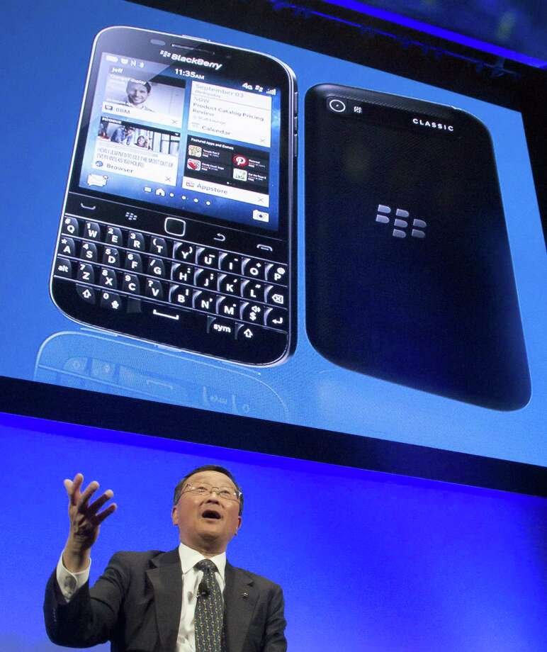 BlackBerry CEO John Chen speaks during a news conference after the presentation of the company's new BlackBerry Classic phone in New York. Photo: Bebeto Matthews — The Associated Press  / AP