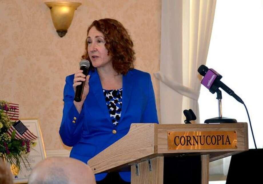 Kate Hartman/Register Citizen -- Rep. Elizabeth Esty speaks at Northwest Connecticut's Chamber of Commerce luncheon on April 1, 2013.