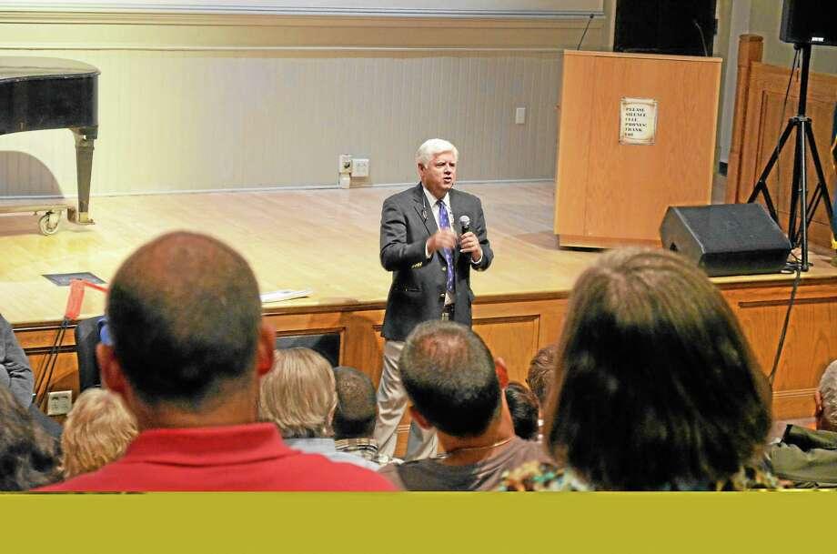 Congressman John Larson speaks at Northwest Connecticut Community College on Thursday. Photo: Mercy Quaye—Register Citizen