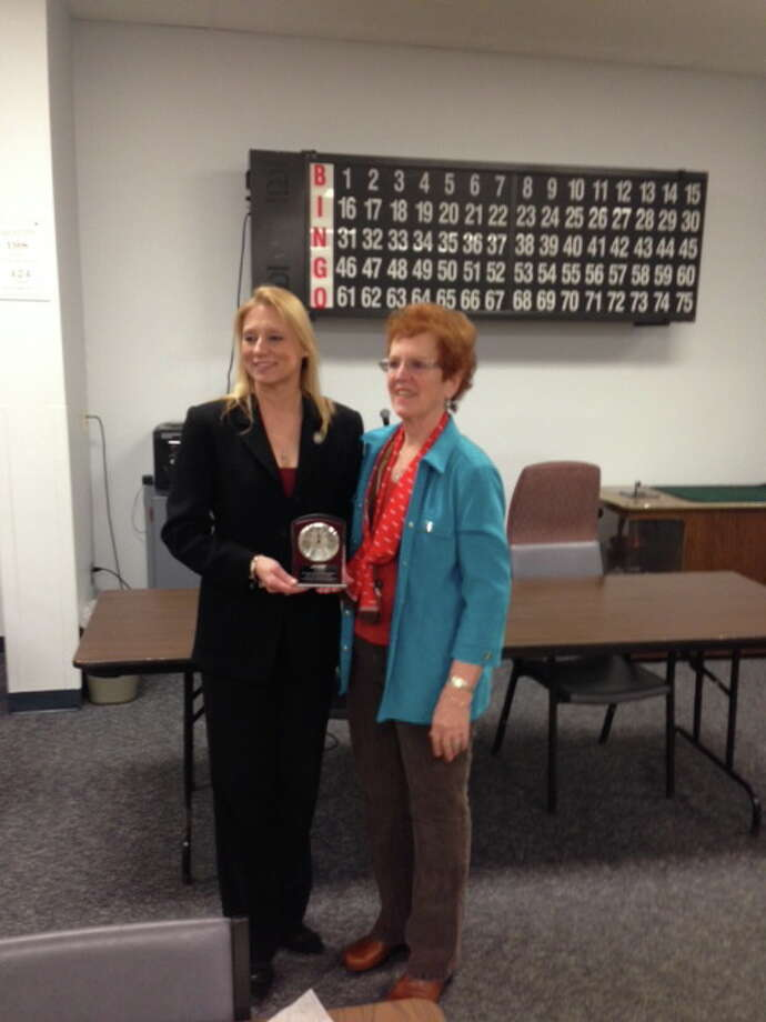 State Rep. Michelle Cook, D-Torrington, received an award from AARP at the Sullivan Senior Center in Torrington. Photo: Contributed Photo