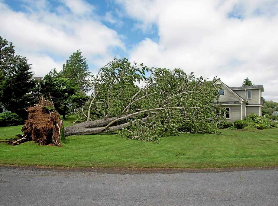 A large uprooted tree rests against a house in Oakland, Nova Scotia on Saturday, July 5, 2014. Thousands of homes and businesses were without power as heavy rains and high winds buffeted the region.(AP Photo/The Canadian Press, Andrew Vaughan) Photo: AP / The Canadian Press