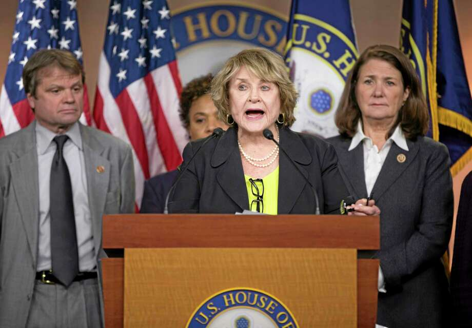 Co-Chair of the Pro-Choice Caucus Rep. Louise Slaughter, D-N.Y., center, speaks during a news conference on Capitol Hill in Washington, Tuesday, March 25, 2014, to discuss the Supreme Court case on whether corporations have religious rights that exempt them from part of the law that requires coverage of birth control for employees. The case being argued at the Supreme Court on Tuesday involves family-owned companies that provide health insurance to their employees, but object to covering certain methods of birth control that they say can work after conception, in violation of their religious beliefs. From left are, Rep. Mike Quigley, D-Ill., Rep. Sheila Jackson Lee, D-Texas, Slaughter, and Rep. Diana DeGette, D-Colo. (AP Photo/ Evan Vucci) Photo: AP / AP