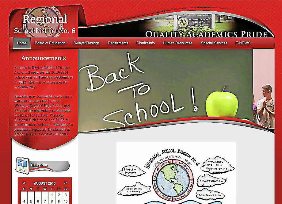A screenshot of the new website for Regional School District 6. Photo: Journal Register Co.