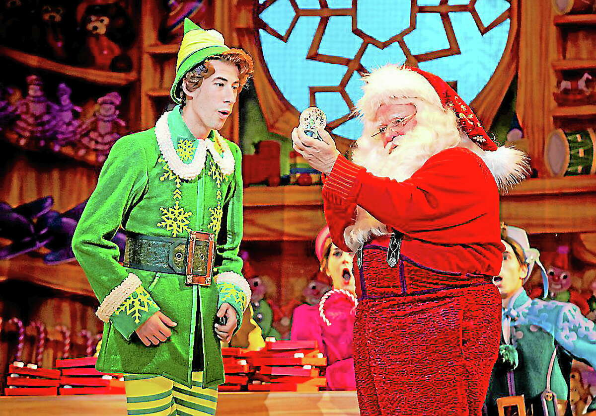 Photo by Joan MarcusMatt Kopec (Buddy) and Gordon Gray (Santa) in Elf The Musical, which will be performed at the Palace in Waterbury.