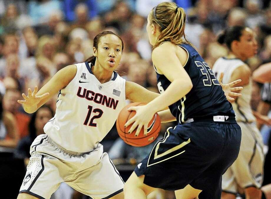 UConn's Saniya Chong defends during a game earlier this season. Photo: The Associated Press File Photo  / AP2013