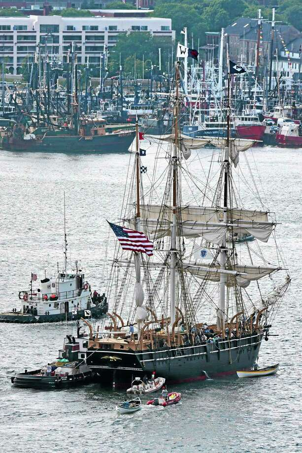 The whaleship Charles W. Morgan approaches its berth in New Bedford, Mass., Wednesday June 25, 2014.  The Charles W. Morgan is the last surviving ship from America's 19th century whaling fleet and is three-month journey along the southern New England coast.(AP Photo/Standard Times, Peter Pereira) Photo: AP / Standard Times