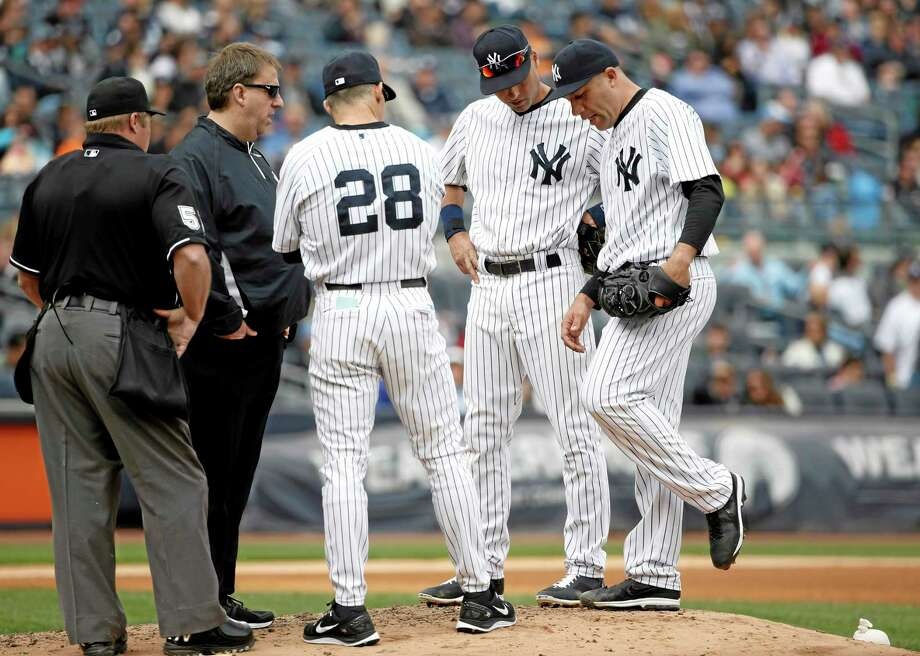 Alfredo Aceves, far right, has been suspended 50 games. Photo: Kathy Willens — The Associated Press File Photo  / AP