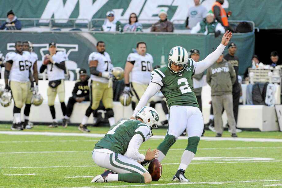 Jets kicker Nick Folk boots a field goal during the second half against the Saints on Sunday. Photo: Bill Kostroun — The Associated Press  / FR51951 AP