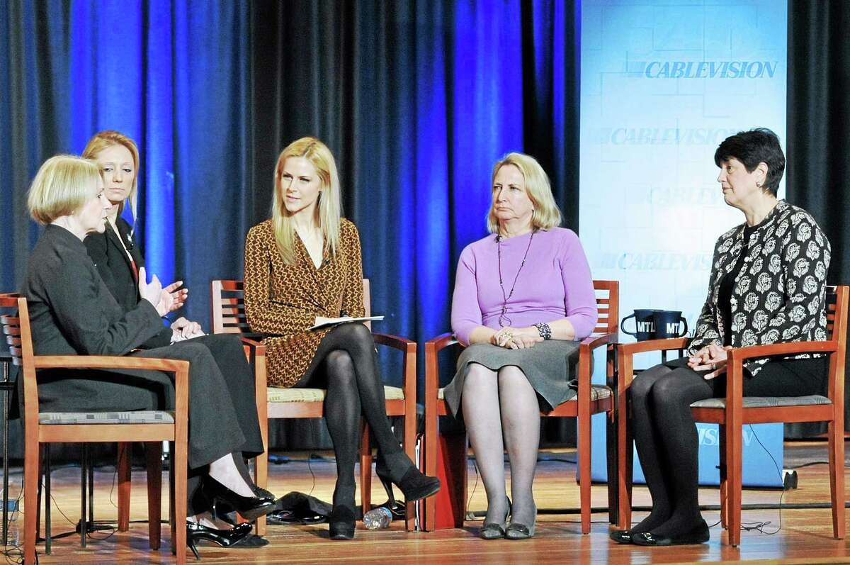 """From left, Dora B. Schriro, commissioner of state Department of Emergency Services and Public Protection, state Rep. Michelle Cook, D-Torrington, host Shawna Ryan, state Rep. Roberta Willis, D-Salisbury, and Cheryl Kloczko, superintendent of Torrington Schools during a Cablevision """"Meet the Leaders"""" event at Torrington High School Friday."""
