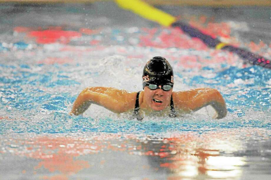 Laurie Gaboardi Register CitizenTorrington's Makenzie Welch swims in the 200-yard individual medley during the NVL finals. Welch came in second place in the IM and came in first place in the 100-yard backstroke. The Red Raider finished in second place overall at the NVLs. Photo: Journal Register Co.
