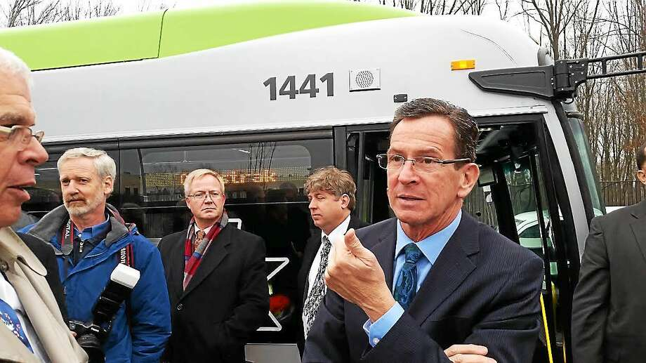 Gov. Dannel P. Malloy and other lawmakers took the 9.4-mile route from Hartford to New Britain on the CTfastrak busway on Tuesday. Photo: Hugh McQuaid — Ctnewsjunkie.com