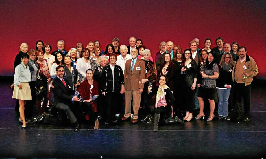 Submitted photo by Kim Fazzino Honored guests of the VIP Reception enjoy a moment of the stage of Warner's Nancy Marine Studio Theater.  Photo by Kim Fazzino. Photo: Journal Register Co.