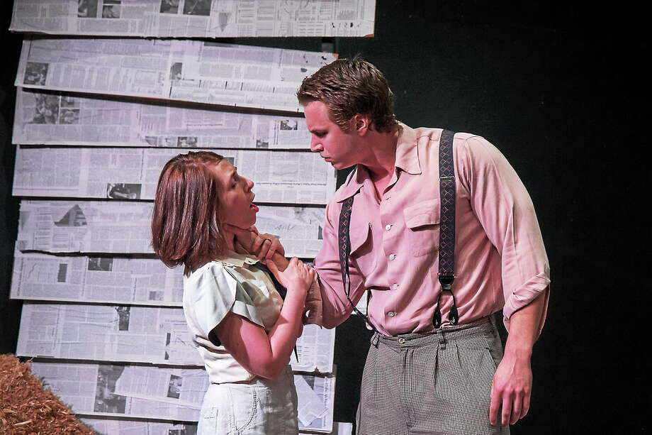 """Submitted photos courtesy of TheatreWorks New Milford TheatreWorks New Milford is staging """"Bonnie and Clyde"""" 80 years after the deaths of the notorious duo. Above, Bonnie and Clyde, played by Marilyn Hart of New Milford and Adam Stordy of Sandy Hook, in a scene from the play. Photo: Journal Register Co."""