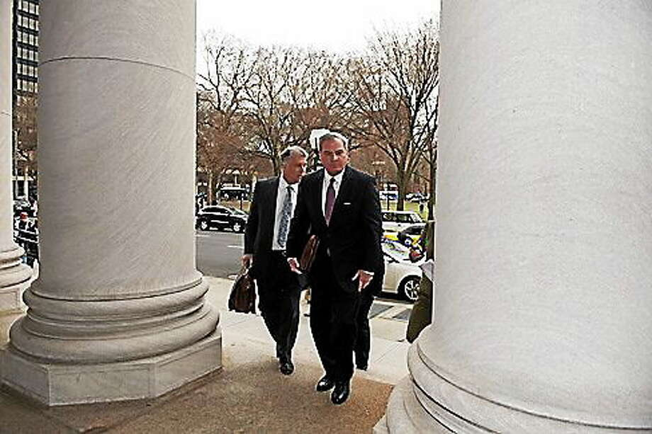 Former Gov. John Rowland arrives at court. Photo: Photo Courtesy Of CT News Junkie