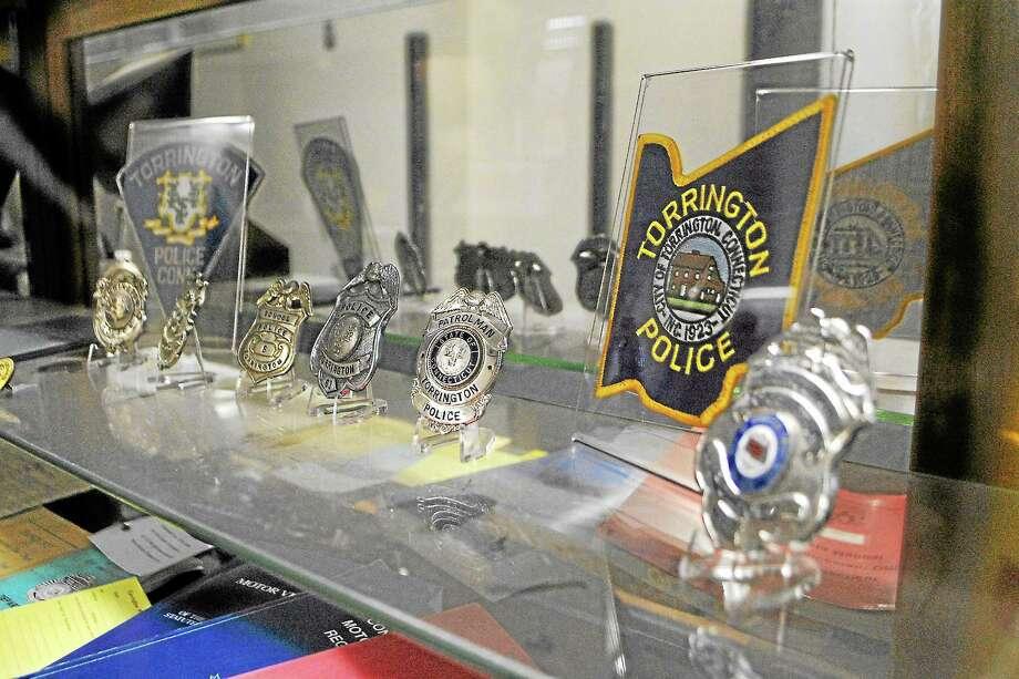 Jessica Glenza-Register Citizen ¬ Shields of the Torrington Police Department on display in the station. Photo: Journal Register Co.