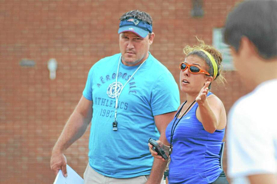 Jenn Stango begins her second year on the sideline as an assistant coach for Wolcott Tech under head coach Jamie Coty. Photo by Pete Paguaga - Register Citizen Photo: Journal Register Co.