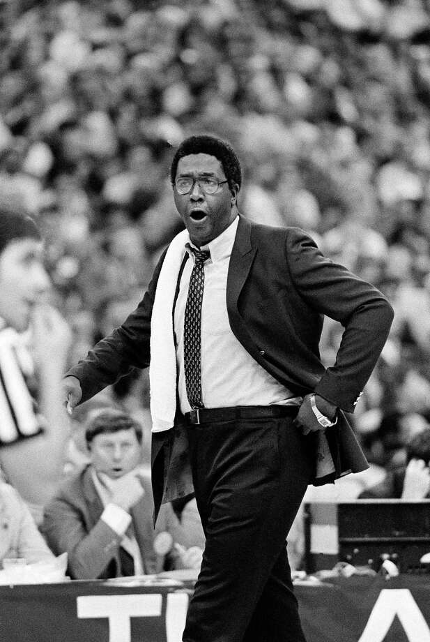 John Thompson coaches a game while at Georgetown in 1982. Photo: The Associated Press File Photo  / AP1982