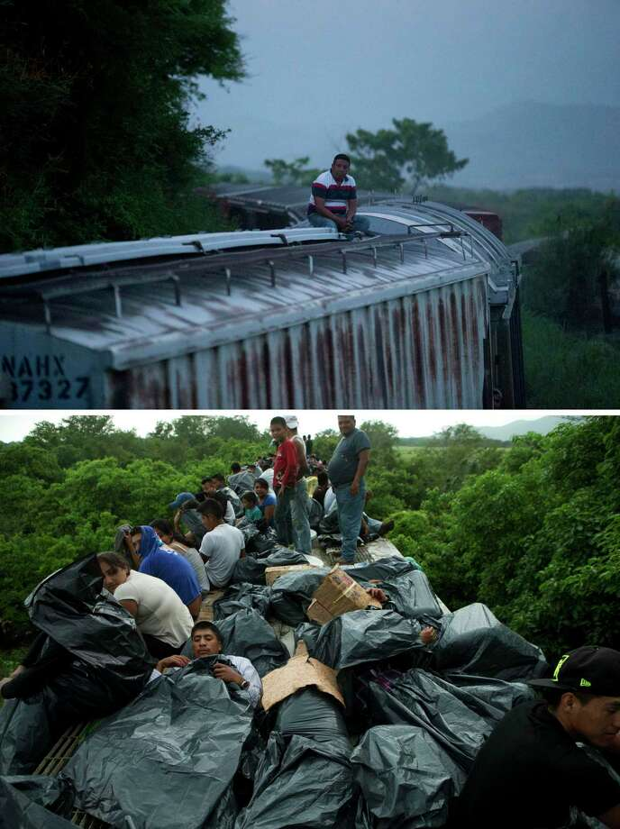 This combo of two pictures taken in 2014 in southern Mexico shows a lone Central American migrant riding a freight train heading north on Aug. 26 from Arriaga in Chiapas state, to Ixtepec in Oaxaca state, top picture, and a train full of Central American migrants near Reforma de Pineda, in Chiapas state on June 20.  Mexico's largest crackdown in decades on illegal migration has decreased the flow of Central Americans trying to reach the United States, and has dramatically cut the number of child migrants and families, according to officials and eyewitness accounts along the perilous route. (AP Photo/Rebecca Blackwell) Photo: AP / AP