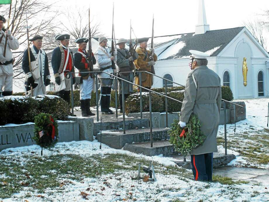 Veterans gathered Saturday to participate in a ceremony for Wreaths Across America at the All Wars Memorial on U.S. Route 202 in Bantam. Photo: Stephen Underwood — Special To The Register Citizen