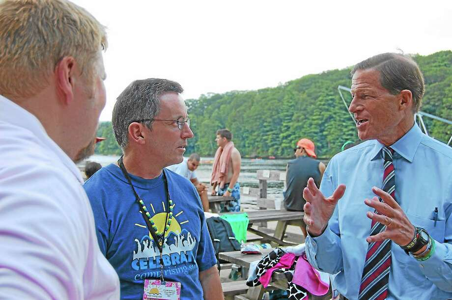 U.S. Sen. Richard Blumenthal visited Colebrook's Camp Rising Sun, a camp for childhood cancer survivors, on Aug. 22. Photo: Mercy Quaye—Register Citizen