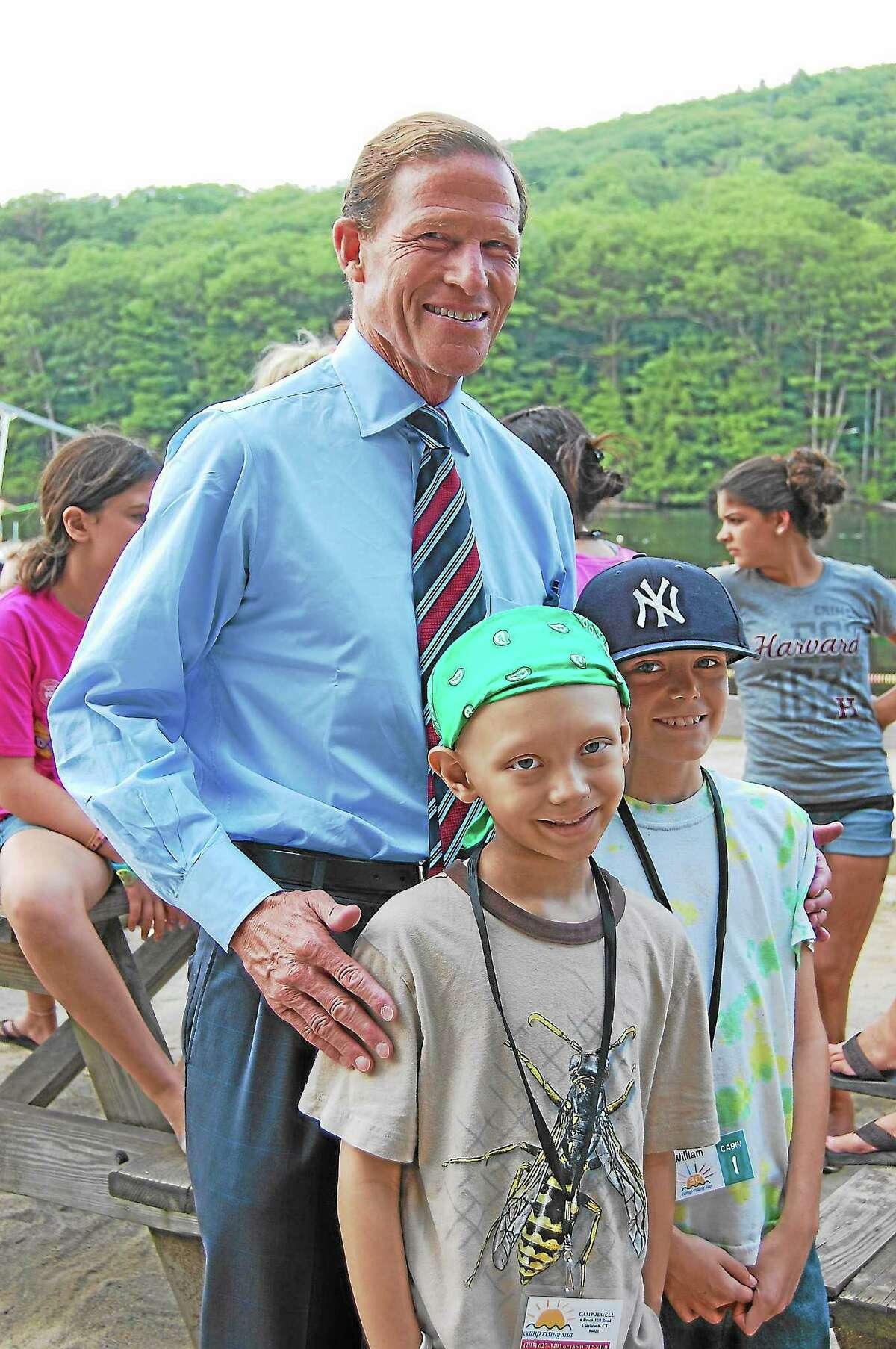 U.S. Sen. Richard Blumenthal visited Colebrook's Camp Rising Sun, a camp for childhood cancer survivors, on Aug. 22.