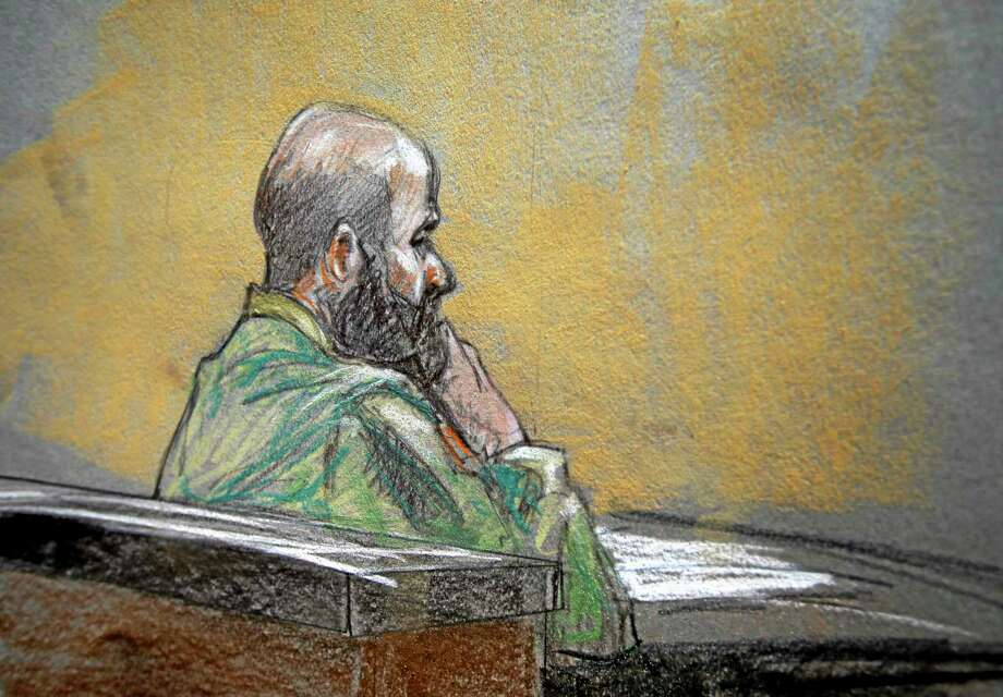 In this courtroom sketch, U.S. Army Maj. Nidal Malik Hasan is shown during closing arguments of his court martial,  Thursday Aug. 22, 2013, in Fort Hood, Texas. (AP Photo/Brigitte Woosley) Photo: AP / FR170958 AP